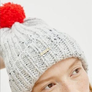 Madewell Gray Donegal Beanie with Red Pom Pom